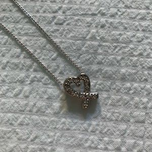 Sterling Silver 925 Diamond HEART necklace NWOT